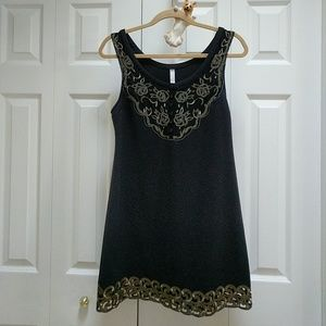 Free people black with gold detailing mini dress
